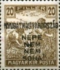 [Hungary Postage Stamps Handstamped Overprinted - Reaper & Parliament, type E3]