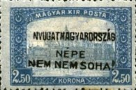 [Hungary Postage Stamps Handstamped Overprinted - Reaper & Parliament, type E9]