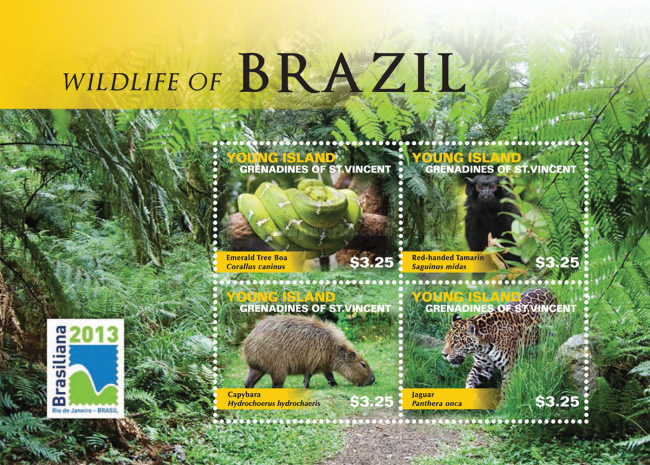 [International Stamp Exhibition BRASILIANA 2013, Rio de Janeiro, Brazil - Wildlife of Brazil, Typ ]
