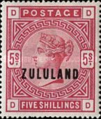 """[Great Britian Postage Stamps Overprinted """"ZULULAND"""", type B10]"""