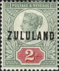 """[Great Britian Postage Stamps Overprinted """"ZULULAND"""", type B2]"""