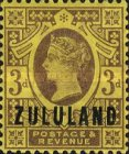"""[Great Britian Postage Stamps Overprinted """"ZULULAND"""", type B4]"""