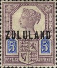 """[Great Britian Postage Stamps Overprinted """"ZULULAND"""", type B6]"""